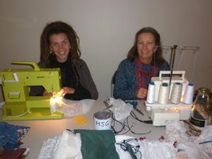 Plastic Free July Launch - Brigita and Jenny sewing reusable produce bags